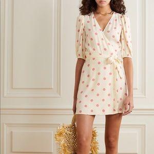 NWT Reformation Olince Polka Dot Crepe Wrap Dress